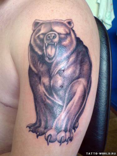 Татуировка медведь на груди