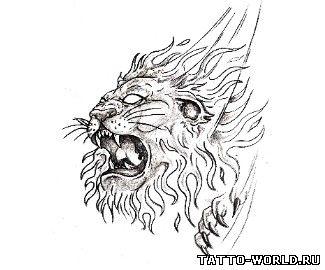 Красивый эскиз Татуировки Льва.